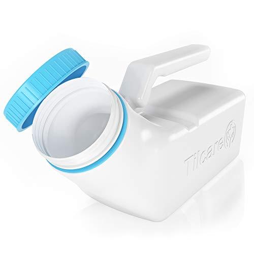 Orinales para hombres con tapa que brilla en la oscuridad Tilcare (1 unidad) - Botella plástica gruesa de 32 onzas/1000 ml para hombres con tapa a rosca - Orinal a prueba de derrames