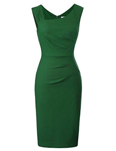 Belle Poque bleistiftkleid Knielang Rockabilly Pencil Kleid Damen sexy Stretch Bodycon Kleid grün etuikleid M BP302-2