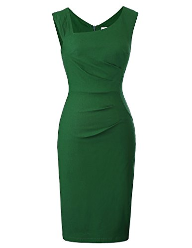 Belle Poque bleistiftkleid Knielang Rockabilly Pencil Kleid Damen sexy Stretch Bodycon Kleid grün etuikleid M BP302-2