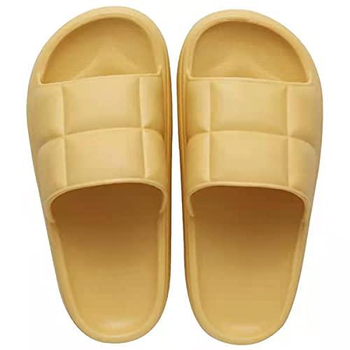 HOTRA Zapatillas súper suaves para hombre y mujer, plataforma antideslizante para baño, suela suave, plataforma de secado rápido, plataforma para ducha, estilo casual (color: amarillo, tamaño: 39EU)