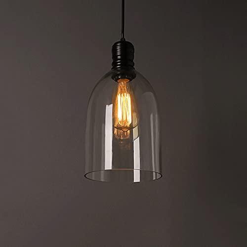 Ahzhlb Luz Colgante de Vidrio Transparente, Luces de Colgante de iluminación E27, Luces de suspensión en Forma de Campana Americana Creativa para Comedor, Isla de Cocina, cabecera de Dormitorio