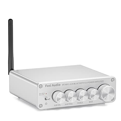 Fosi Audio BT30D-S Bluetooth 5.0 Receiver Amplifier 50 Watt x2+100 Watt Mini Hi-Fi Stereo Audio Class D 2.1 Channel Integrated Amp for Home Outdoor Passive Speakers/Powered Subwoofer