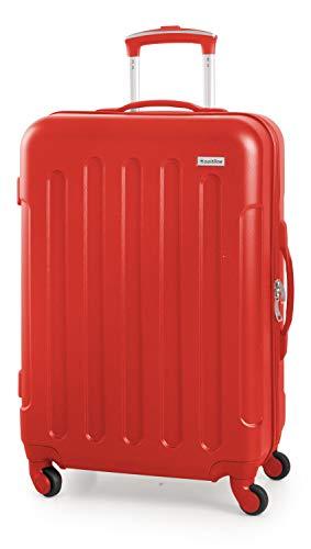 Suitline S3 - Valigia da viaggio di medie dimensioni, Trolley rigido in ABS, 4 ruote, 68 cm, 60 L, Rosso