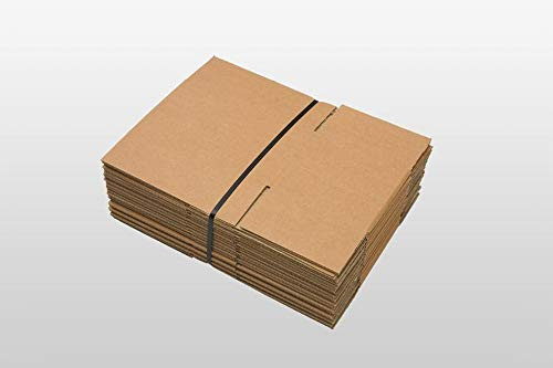 25 x Versandkartons (Faltschachteln, Faltkarton, Wellpappkarton, Wellpappfaltkarton, Kartons), 3-Sicht, 200x150x100mm