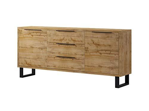 Furniture24 Kommode Halle 25 Wohnzimmerschrank, Merzwerschrank, Sideboard mit 2 Türen und 3 Schubladen, Wotan Eiche Dekor