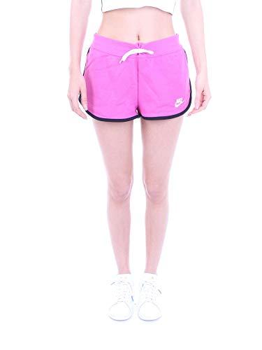 Nike Sportswear Women's Heritage Vintage Cotton Fleece Slim Fit Shorts Fuchsia/Black/White (Small)