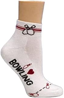 I Love Bowling Socks by Master (One Size Fits Most, White/Black/Red)