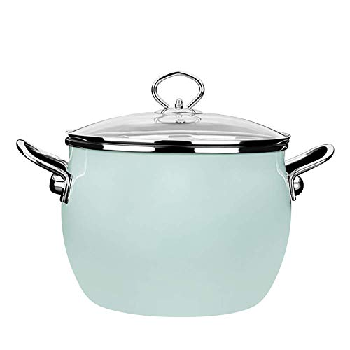 GCP Enamel saucepan with glass lid, round milk pot baby food supplement pot green pot 9x10 inch (d22xh25cm)