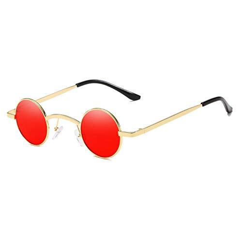 hongxin Damen Herren Sonnebrille Rund Verspiegelt Retro Unisex Legierung Outdoor-Brille in vielen Farbkombinationen