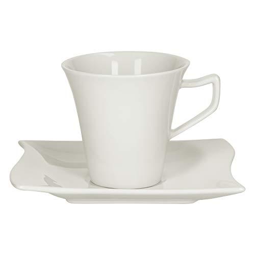Van Well 2tlg.-Set Kaffeetasse Harmony 200 ml + Untertasse Wellco-Design zeitlos-Elegantes Porzellan-Geschirr Elfenbein-weiß Tafel-Zubehör Gastro-Qualität
