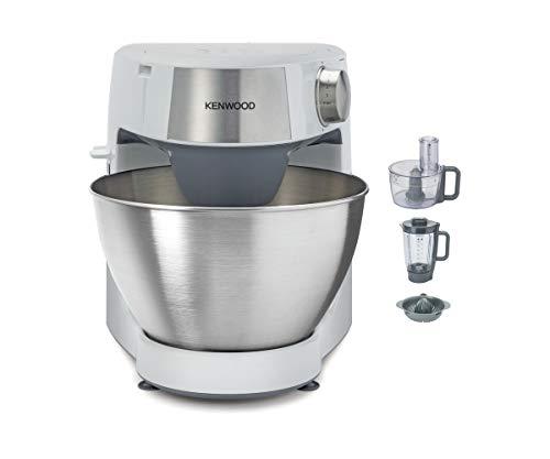 Kenwood Prospero+ KHC29.H0WH - Robot de Cocina Multifunción, Bol 4,3L, Mezclar, Batir y Amasar, Batidora de Vaso de Cristal 1.5L, Procesador de Alimentos 1.4L con Tres Discos y Exprimidor, Blanco