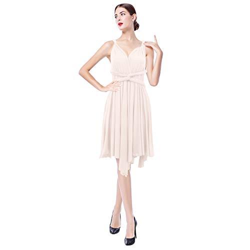 FYMNSI Damen Multiway Kleid Hochzeitskleid Asymmetrisches Brautjungfer Brautkleid V-Ausschnitt Rückenfrei Neckholder Abendkleid Elegant Cocktailkleid Einfarbig Ärmellos Kurzes Partykleid Aprikose M