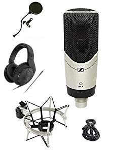 Sennheiser MK-4 STUDIO Limited Edition MK4 Mic Bundle with HD200PRO Headphones, Shockmount, XLR Cable and Pop Filter Popper Stopper