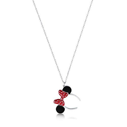 Collana con Ciondolo Disney Minnie Mouse con cristalli Swarovski®, placcata in argento, licenza ufficiale 100%