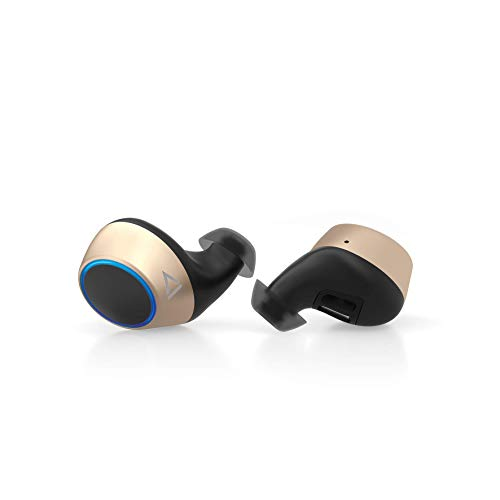 Creative Outlier Gold TWS True Wireless Sweatproof Earphones with Software Super X-Fi, Bluetooth 5.0, aptX/AAC, Long Battery Life 39hrs Total, 14hrs Per Charge, Siri/Google Assistant (Gold)