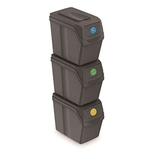 Juego de 3 cubos de reciclaje capacidad total 60 litros, apilable, compartimentos en color gris, 3x20 Litros