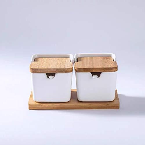 QLIGHA Tarro De Especias De Condimento De Cerámica Recipiente De Especias Creativo Minimalista con Tapa De Bambú Caja De Almacenamiento De Sal De Porcelana Organizador De Cocina Condimentos