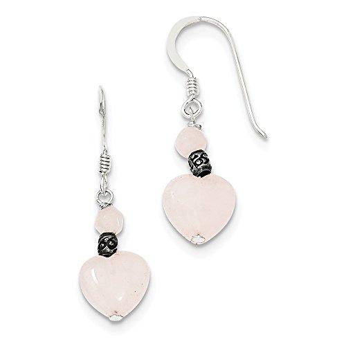 Pendientes de plata de ley 925 con forma de corazón de cuarzo rosa (lente: 29 mm; ancho: 10 mm)