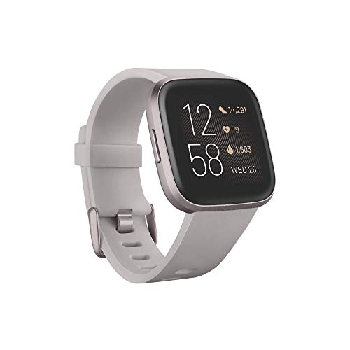 Fitbit Versa 2 Health & Fitness Smartwatch with Alexa built-in, Sleep Score & Music, Stone/Mist Grey