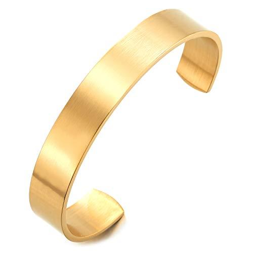 COOLSTEELANDBEYOND 19CM Klassiker Herren Damen Verstellbare Armband Armreif aus Edelstahl Farbe Gold Satiniert
