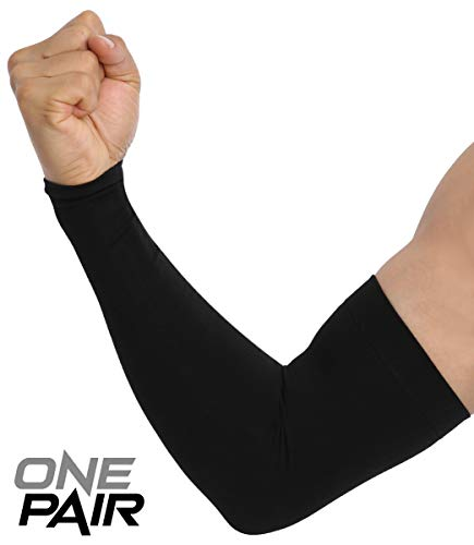 UV Sun Protection Arm Sleeves - Cooling Compression Sleeves for Men & Women - UPF 50 Arm Cover / Shield for Basketball, Running, Cycling, Golf, Volleyball, Baseball, Football & Other Outdoor Sports