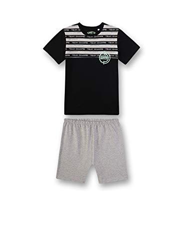 Sanetta Jungen kurzer Pyjama Zweiteiliger Schlafanzug, Schwarz (Super Black 10015), (Herstellergröße: 140)