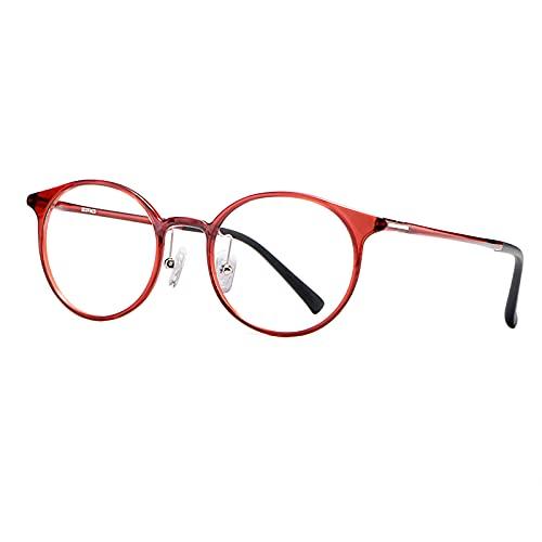 Fudeer Gafas De Lectura con Bloqueo De Luz Azul para Mujer Gafas con Lector De Ordenador TR90 Gafas UV400 para Juegos Gafas Ligeras con Montura Redonda Y Tensión Ocular,Rojo,+2.00