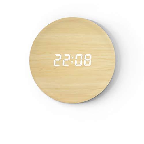 bjyx Reloj de pared de madera regulable personalizado para el hogar, creativo LED reloj de pared inteligente controlado por voz (color: E)