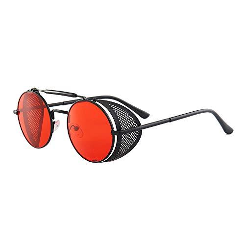 hqpaper Gafas de sol europeas y americanas nuevas, con marco redondo, parabrisas laterales, gafas de sol, marco negro, película roja