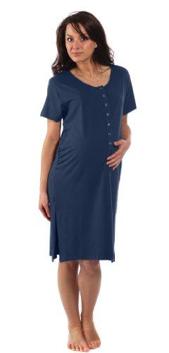 Die Bambus Geburtssimulator Hemd - Für Schwangerschaft, Arbeit, Stillen und Bonding - Nachtblau - Große L (Vor der Schwangerschaft DE-Größe 40-42)