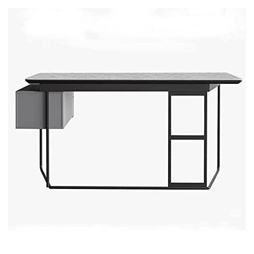 Escritorio de pizarra minimalista ORDENADOR PERSONAL Escritorio 1.2m 1.4m 1.6m Tabla de estudio de trabajo de oficina en casa con cajón de almacenamiento Marco de metal estable Estación de trabajo