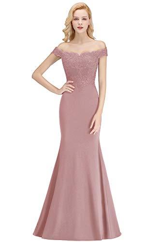 MisShow Damen Off Shoulder Abendkleid für Hochzeit Chiffon Cocktailkleid mit Stickerei lang Alt Rosa 38