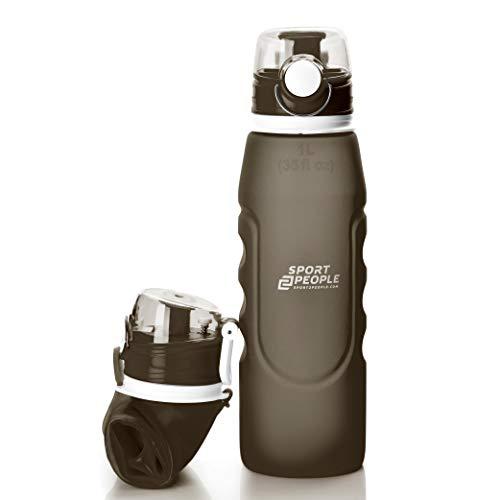 sport2people Silikon Faltbare Wasserflasche 1 L - Medizinische Qualität Aufrollen Trinkflasche, BPA Free - Sportflasche mit Leck Sicherheitsventil für Reisen, Sport, Outdoor, Camping