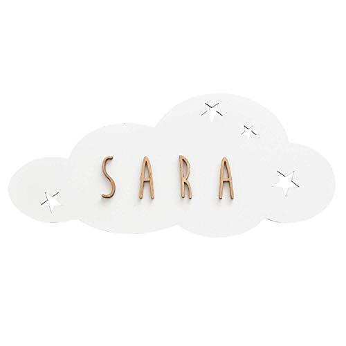 Vintiun | Placa en Forma de Nube Personalizable | Decoración en Madera | Decoración Infantil con Letras | Cartel con Adhesivo para Puerta y Pared | Color Blanco