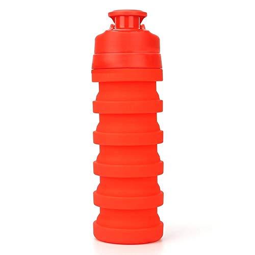 RUIRUI Botella Deportiva roscada Taza de Silicona sellada y a Prueba de Fugas Telescópicas Telescópicas Botella de Almacenamiento al Aire Libre 500ml (Color : Red)