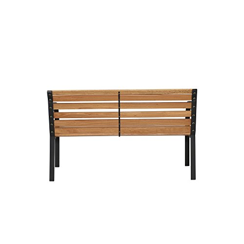 Siena Garden 2er Bank Menorca, 122x62x80cm, Gestell: Stahl, pulverbeschichtet in schwarz, Fläche: Hartholz in natur - 4