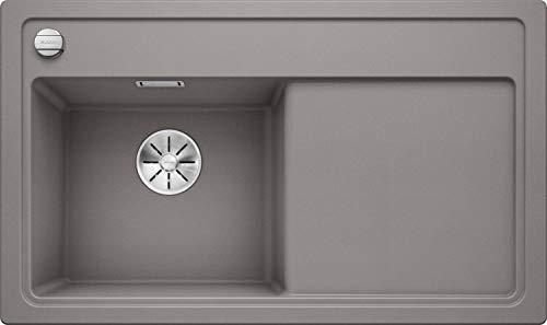 BLANCO 523842zenar 45S S Silgranit PuraDur con telecomando per scarico, con tagliere di legno di scolo Links alumetallic, Alluminio Metallizzato