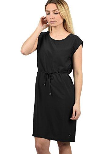 BlendShe Amaia Damen Blusenkleid Lange Bluse Kleid Mit Rundhals-Ausschnitt Knielang, Größe:S, Farbe:Black Solid (20101)