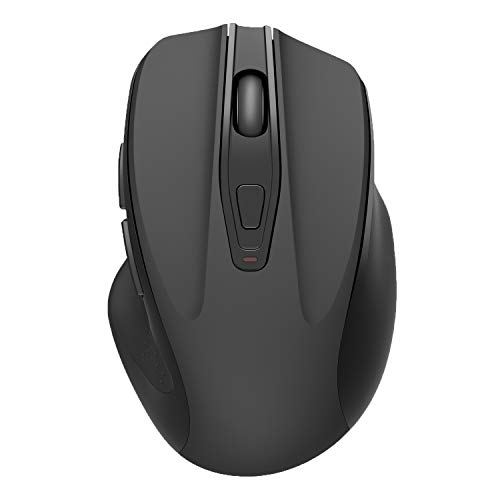 QIJIAYI Computer Wireless Mouse, 2.4G Noiseless Portable USB Mouse Ergonomic Mouse- Fit Your Hand Nicely, 3 Adjustable DPI Levels, Designed for Notebook, PC, Laptop, Computer (Black)