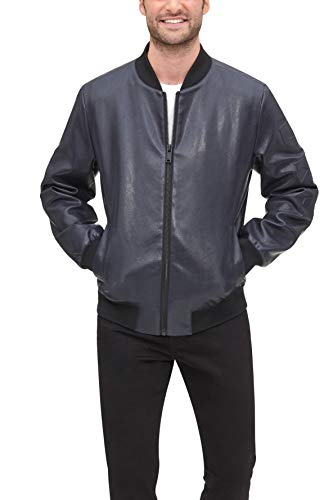 DKNY Men's Leather Bomber Jacket, Navy - Rugged Lamb Faux PU, Large