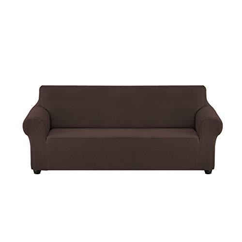 YCDZ Funda de sofá superelástica para sofá de 3 plazas, 1 pieza universal para sala de estar, jacquard de licra, protector de muebles, apto para mascotas, funda de sofá ajustable (chocolate, 2 plazas)