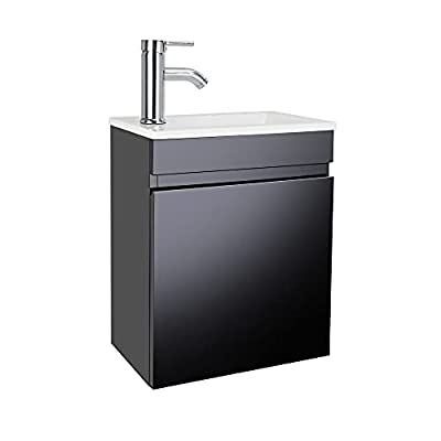"""AHB 16"""" Bathroom Vanity W/Sink Combo for Small Space, Wall Mounted Bathroom Cabinet Set with Chrome Faucet Pop Up Drain U Shape Drain (Black)"""