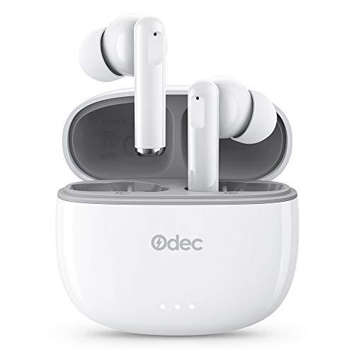 Odec Auriculares Inalámbricos, Auriculares Bluetooth 5 Sonido Estéreo, Reproducci 20 Horas, Estéreo internos con indicador de batería, Micrófono Incorporado, Control Táctil, IPX5