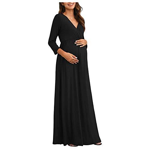 Premamá Vestido de Manga Larga Maxi Falda Plisada con Encaje Flores para Mujer Casual Maternidad Embarazo Fotografía Vestido