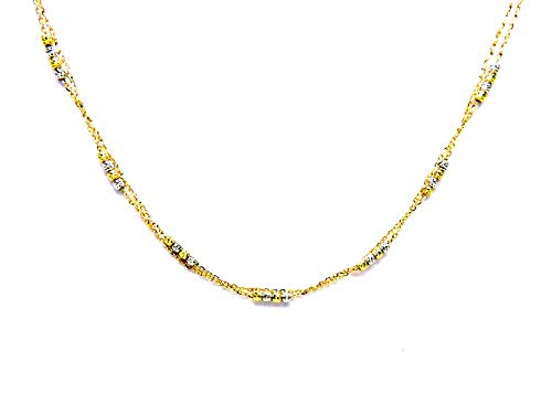 Collana Oro Giallo e Bianco 18kt (750) Girocollo Classico Collier 2 Fili con Palline Bicolore Donna Ragazza