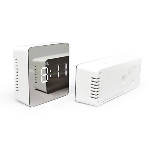 CHRONSTYLE Despertador Espejo, Despertadores Digitales LED Despertador Electrónico con Alarma Función Snooze Retroiluminación Termómetro, Sensor Luminoso y Luz Nocturna (Square)