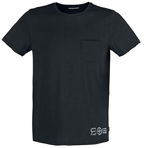 R.E.D. by EMP Red X CHIEMSEE - Schwarzes T-Shirt mit Brusttasche Hombre...