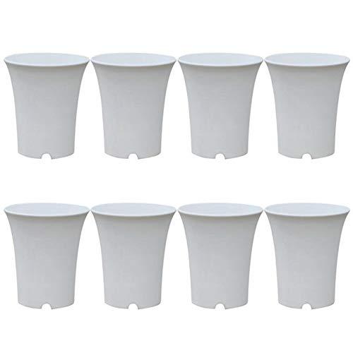 KSFBHC Las suculentas crisol del plantador plástico Macetas Redondas for el hogar u Oficina decoración de jardín (Color : White, Sheet Size : 7.5x7.5x9cm)