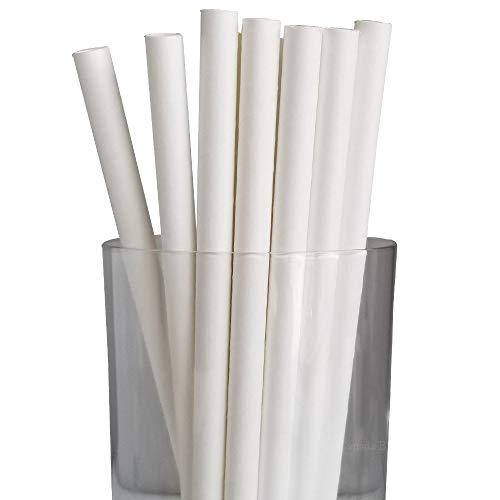 Canada Brown - Cannucce di carta giganti per frullati, frullati e bevande più spesse 8x197mm Infradito colorati estivi, con finte perline