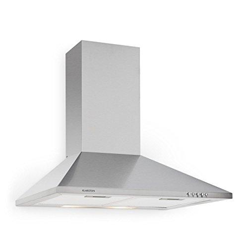 Klarstein Cappa da Cucina Aspirante TR60WS - in Acciaio per Montaggio a Parete, 60 cm, Aspirazione Massima 310m³/h, Lampada per Illuminazione Inclusa